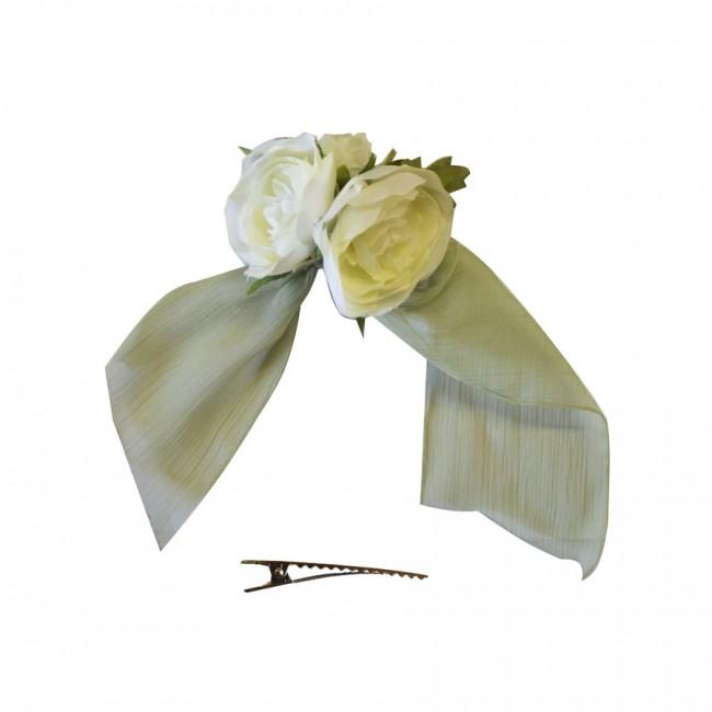 Pinza Flores Blancas con Tiras de Chiffon