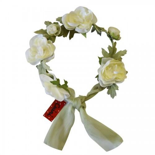 Corona Flores Blancas con Lazada de Chiffon