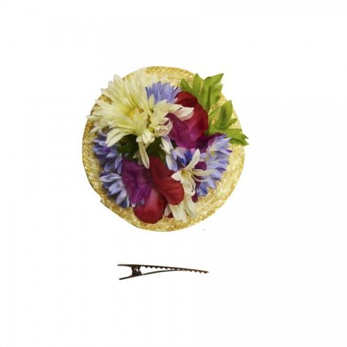 Pinza Círculo de Rafia con Flores